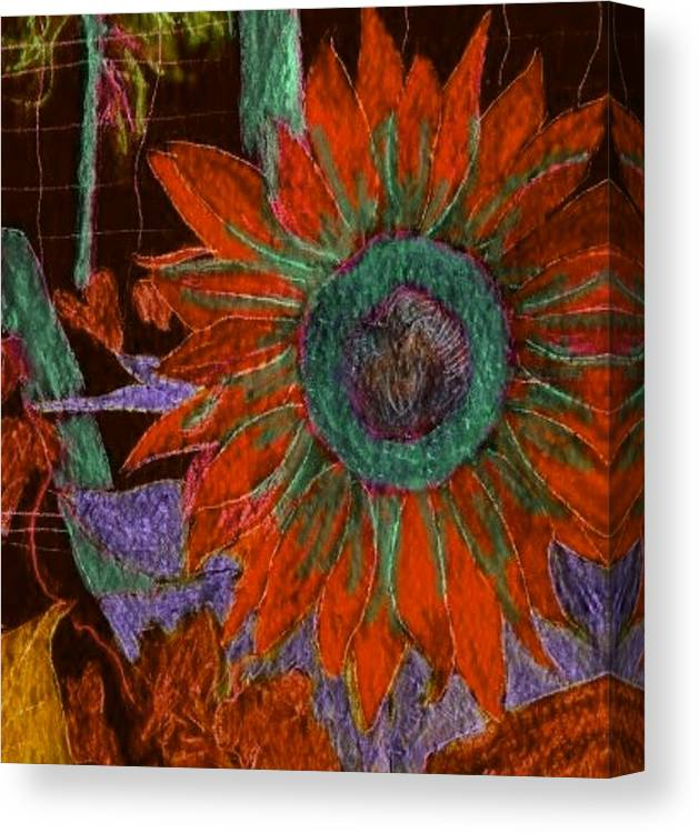 Digital Art Canvas Print featuring the digital art Fall Sunflower by Margie Byrne