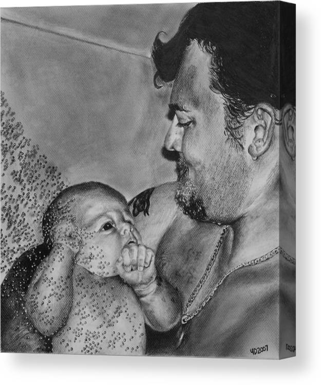 Figure Canvas Print featuring the drawing Showered in Daddy's Love by Darcie Duranceau