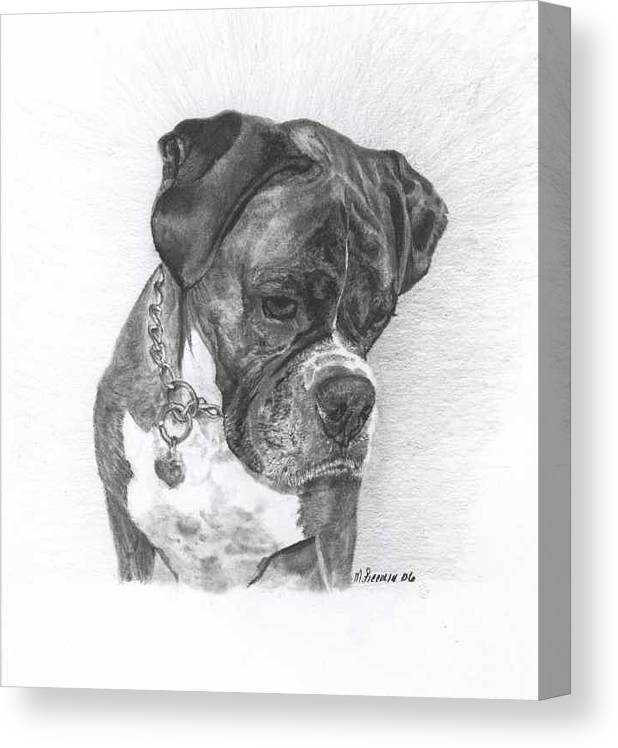 My Boxer Canvas Print featuring the drawing Tyson by Marlene Piccolin