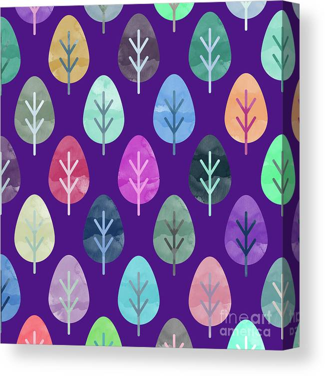 Watercolor Canvas Print featuring the digital art Watercolor Forest Pattern II by Amir Faysal
