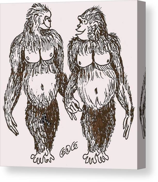 Apes Canvas Print featuring the drawing Wild Life by George I Perez