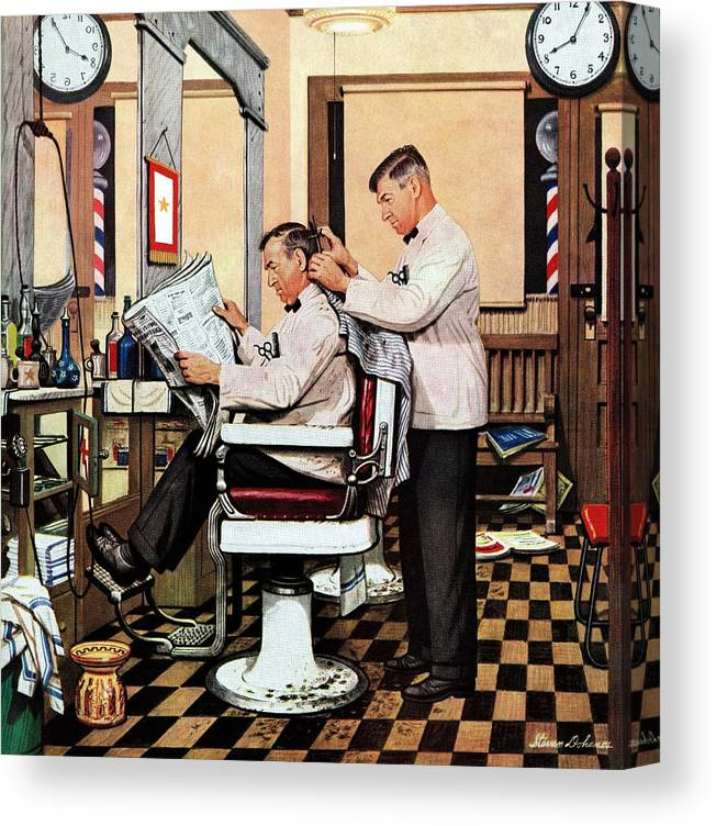 Barbers Canvas Print featuring the drawing Barber Getting Haircut by Stevan Dohanos