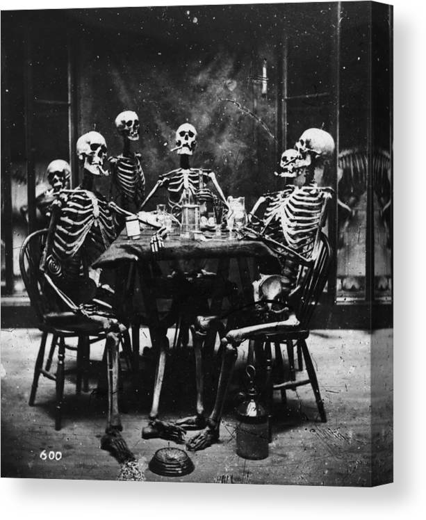Smoking Canvas Print featuring the photograph Deathly Diners by London Stereoscopic Company