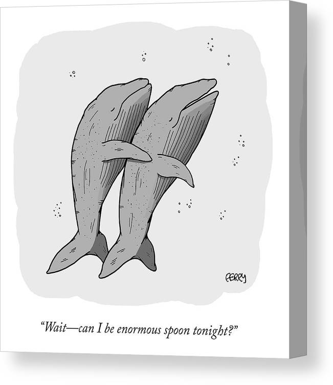 """""""wait—can I Be Enormous Spoon Tonight?"""" Spooning Canvas Print featuring the drawing Enormous Spoon by Tadhg Ferry"""