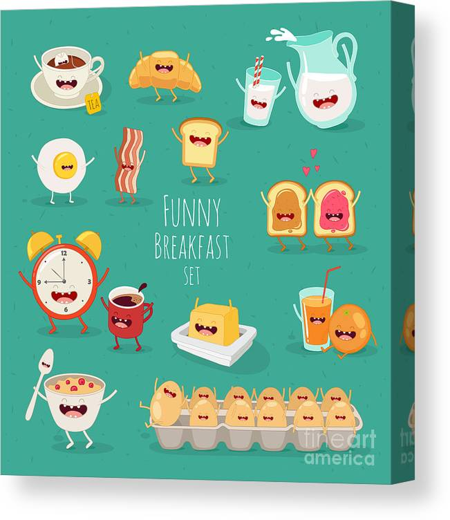Lunch Canvas Print featuring the digital art Funny Breakfast Set Comic Characters by Serbinka