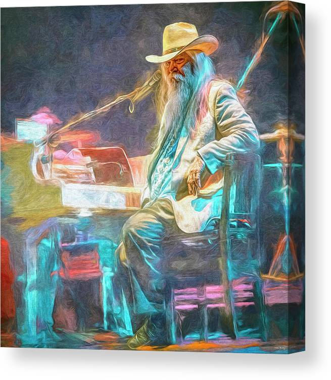 Leon Russell Canvas Print featuring the mixed media Leon Russell by Mal Bray
