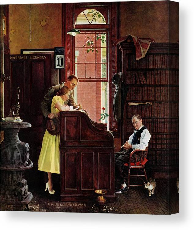Clerks Canvas Print featuring the drawing Marriage License by Norman Rockwell