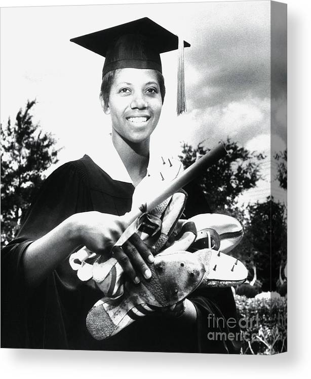 The Olympic Games Canvas Print featuring the photograph Olympic Gold Medal Winner Wilma Rudolph by Bettmann