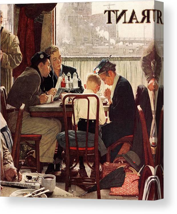 Eating Canvas Print featuring the drawing Saying Grace by Norman Rockwell