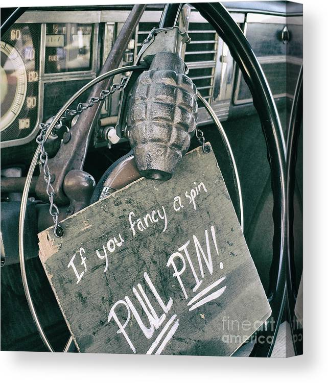 Hand Grenade Canvas Print featuring the photograph The Art of Pulling Pins by Steven Digman
