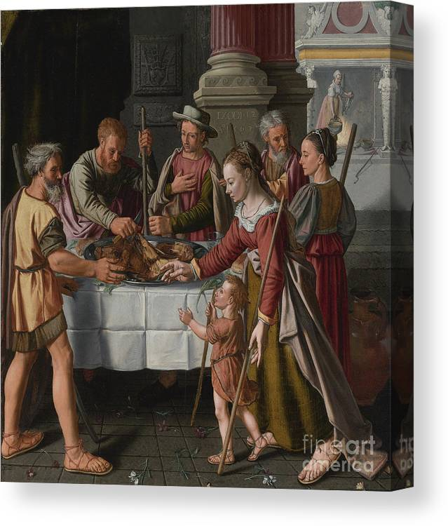 Banquet Canvas Print featuring the drawing The First Passover Feast by Heritage Images