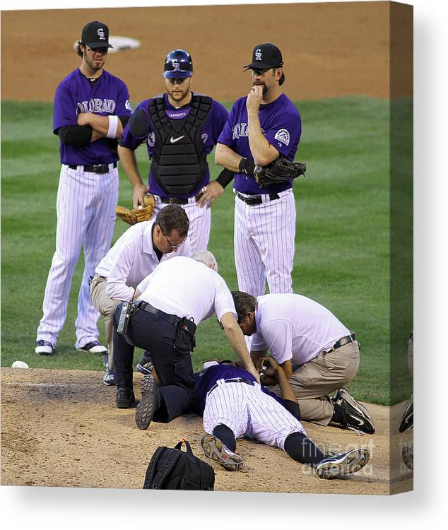 Sports Ball Canvas Print featuring the photograph Washington Nationals V Colorado Rockies by Marc Piscotty