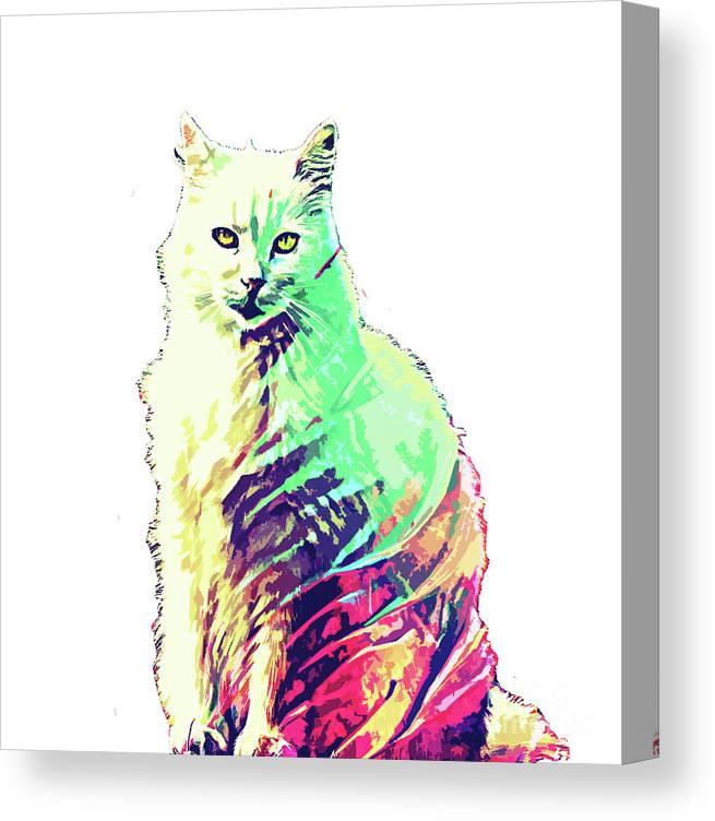 Cat Canvas Print featuring the digital art Abstrat Angora Cat by Trindira A
