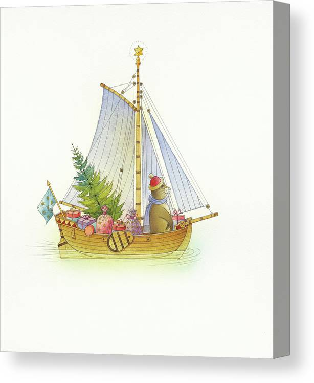 Boat Sea Winter Water Christmas Holydays Christmascards Canvas Print featuring the drawing Christmas boat by Kestutis Kasparavicius