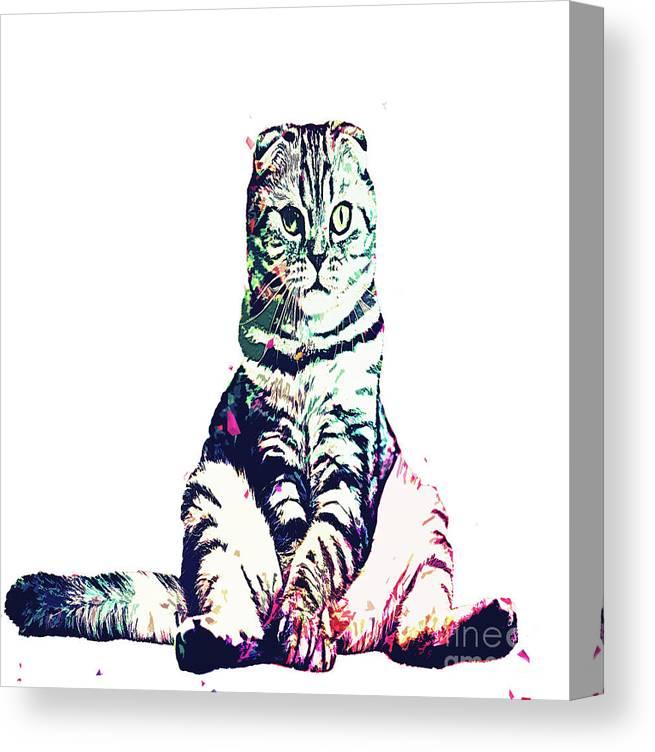 Cat Canvas Print featuring the digital art Funky Cat by Trindira A