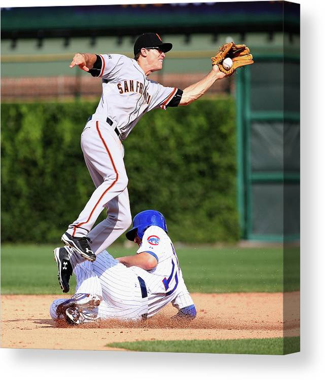 People Canvas Print featuring the photograph Kelby Tomlinson and Kris Bryant by Jonathan Daniel