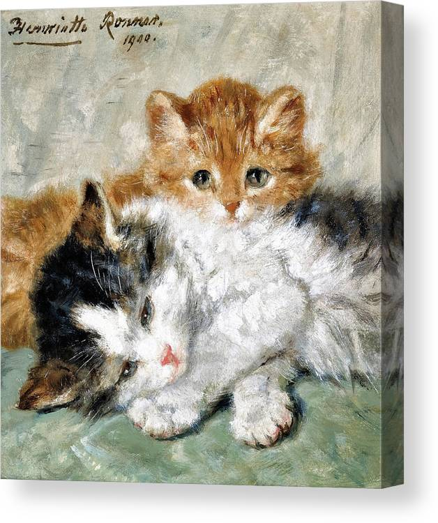 Sleeping Kitten Canvas Print featuring the painting Sleeping kitten - Digital Remastered Edition by Henriette Ronner-Knip