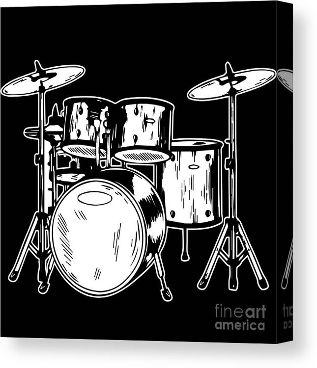 Drummer Canvas Print featuring the digital art Tempo Music Band Percussion Drum Set Drummer Gift by Haselshirt
