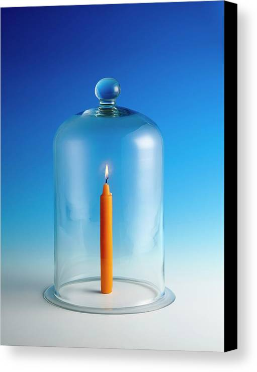 Candle Canvas Print featuring the photograph Candle In A Bell Jar by Science Photo Library