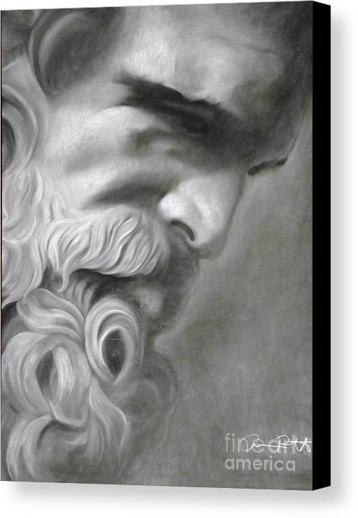 Zeus Canvas Print featuring the drawing Zeus by Adrian Pickett