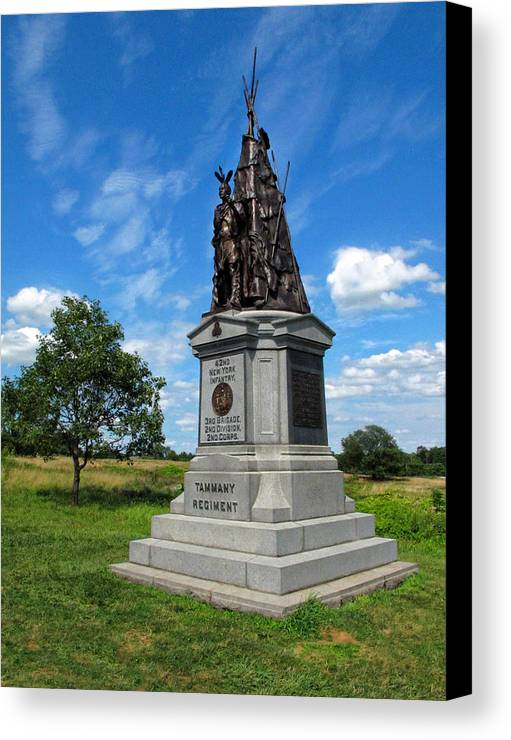 Gettysburg Canvas Print featuring the photograph 42 Ny Infantry Regiment Memorial by Dave Mills