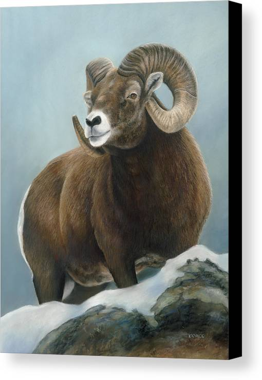 Big Horn Sheep Canvas Print featuring the pastel A Glimpse From The Edge by Karen Cade
