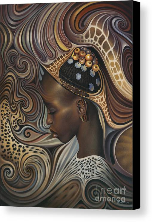 African Canvas Print featuring the painting African Spirits II by Ricardo Chavez-Mendez