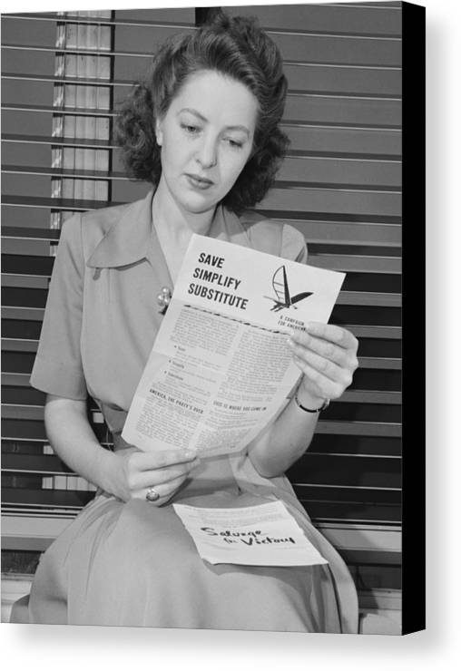 History Canvas Print featuring the photograph American Woman Reads A Government by Everett