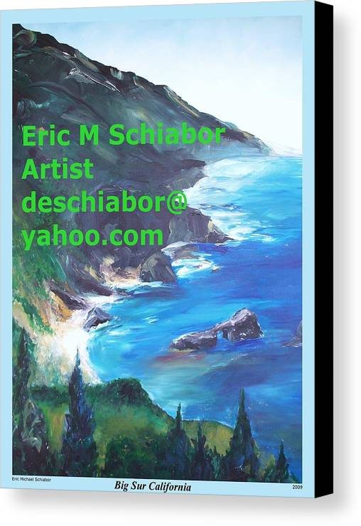 Big Sur Canvas Print featuring the painting Big Sur Califorina by Eric Schiabor