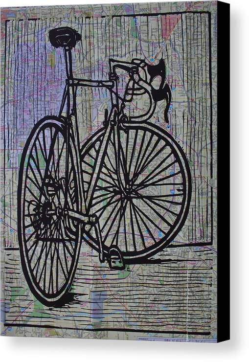 Bike Canvas Print featuring the drawing Bike 4 On Map by William Cauthern