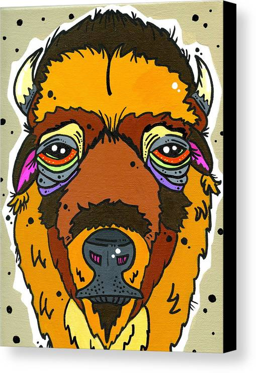Bison Canvas Print featuring the painting Bison by Nicole Wilson