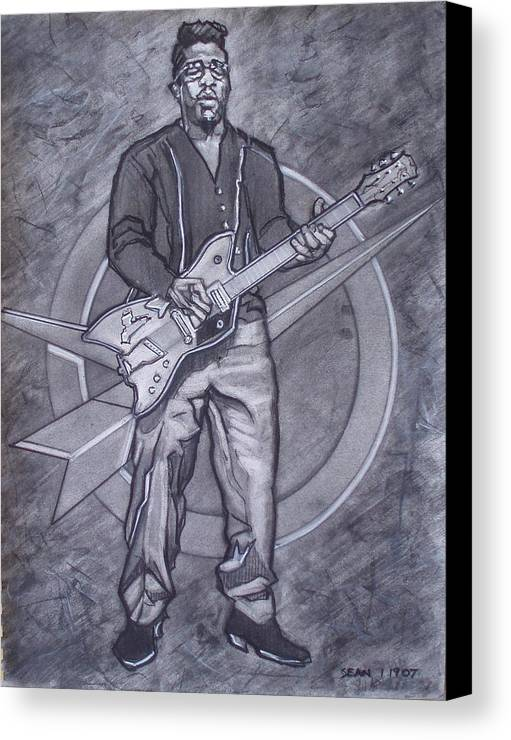 Texas;charcoal;king Of Rock;rock And Roll;music;1950s;blues;musician;funk;electric Guitar;marble;soul Canvas Print featuring the drawing Bo Diddley - Have Guitar Will Travel by Sean Connolly