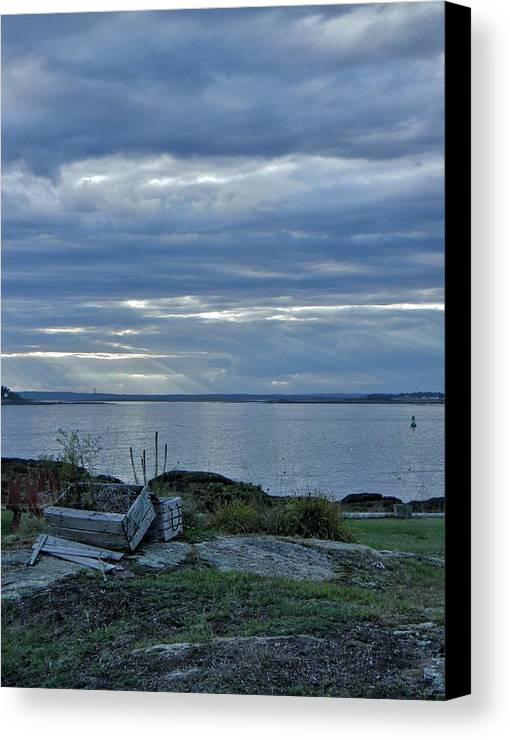 Sea Canvas Print featuring the photograph Crates By The Sea by Jean Goodwin Brooks