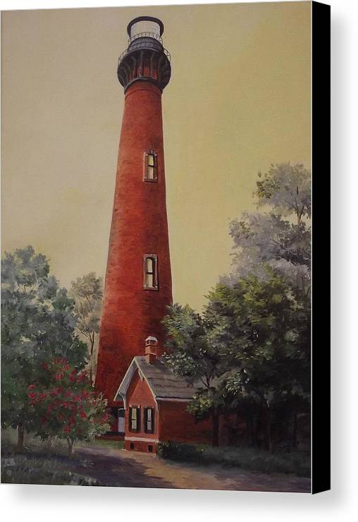 Lighthouse Canvas Print featuring the painting Currituck Lighthouse by Wanda Dansereau