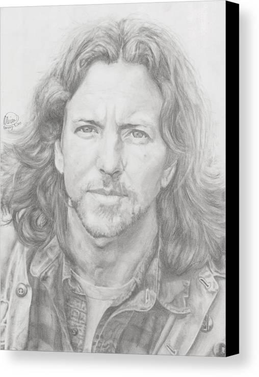Eddie Vedder Canvas Print featuring the drawing Eddie Vedder by Olivia Schiermeyer
