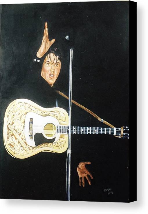 Elvis Presley Canvas Print featuring the painting Elvis 1956 by Bryan Bustard