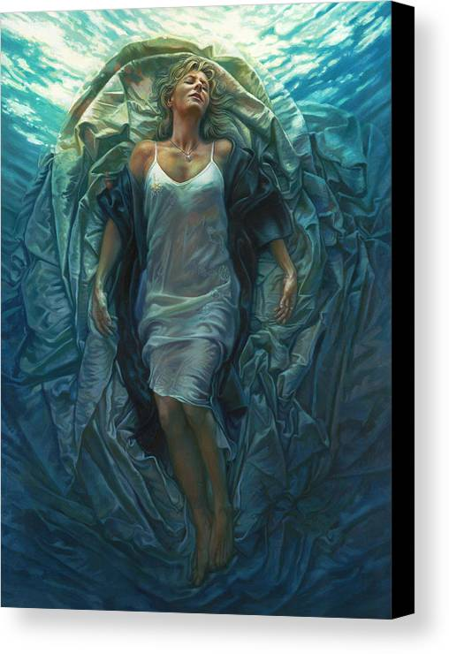 Conceptual Canvas Print featuring the painting Emerge Painting by Mia Tavonatti