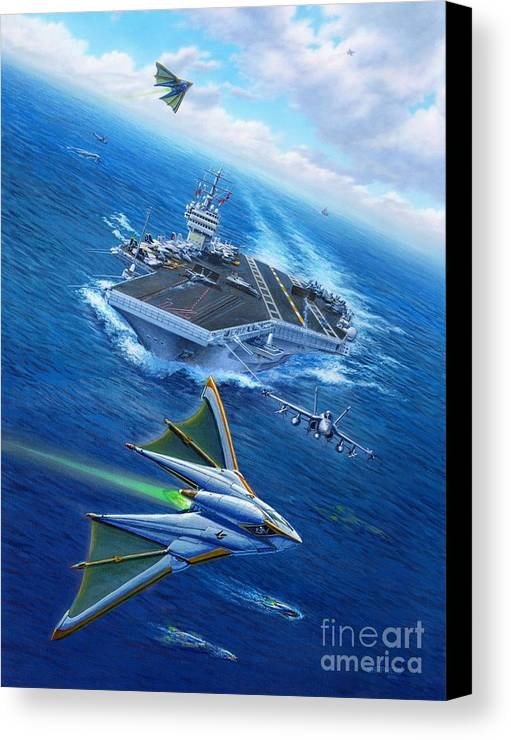 Atlantis Canvas Print featuring the painting Encountering Atlantis by Stu Shepherd
