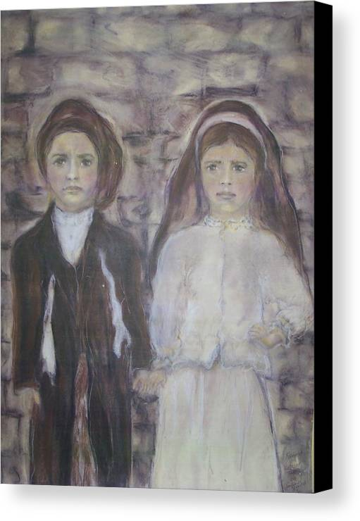 Catholic Art Canvas Print featuring the painting Fatima by Suzanne Reynolds