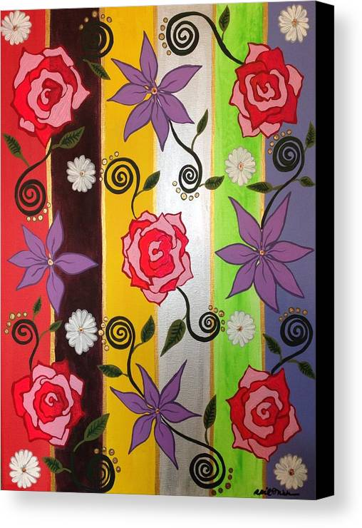 Vintage Canvas Print featuring the painting Floral Frenzy by April Mickens