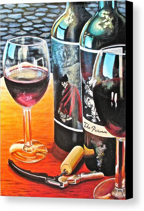 Wine Paintings Canvas Print featuring the painting Friends From Napa by Tim Eickmeier