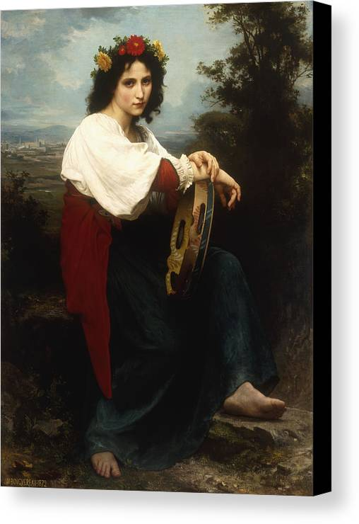 Italian; Woman; Female; Girl; Portrait; Tambourine; Musical; Instrument; Music; Seated; Rural; Landscape; Countryside; Provincial; Flower; Flowers; Hair; Garland; Headdress; Barefoot; Neo-classical; Canvas Print featuring the painting Italian Woman With A Tambourine by William Adolphe Bouguereau