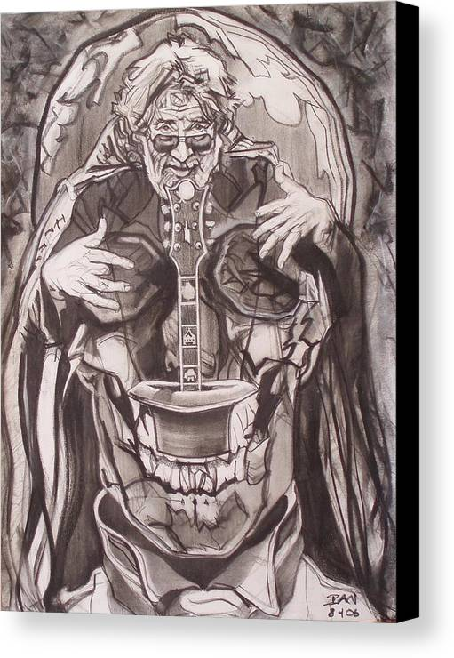 Charcoal; Skull;guitar;music;magic;mystic;wizard;cape;hat;shades;grateful Dead;deadheads Canvas Print featuring the drawing Jerry Garcia . . Magic Is What We Do - Music Is How We Do It by Sean Connolly