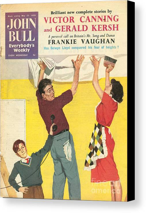 1950�s Canvas Print featuring the drawing John Bull 1959 1950s Uk Decorating Diy by The Advertising Archives