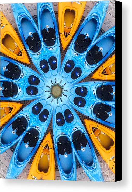Boat Canvas Print featuring the digital art Kaleidoscope Canoes by Amy Cicconi