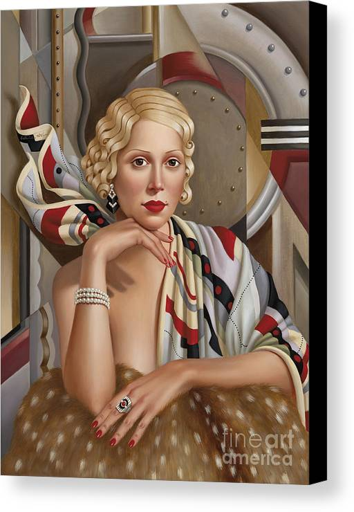 Female Canvas Print featuring the painting La Femmeen Soiehi by Catherine Abel