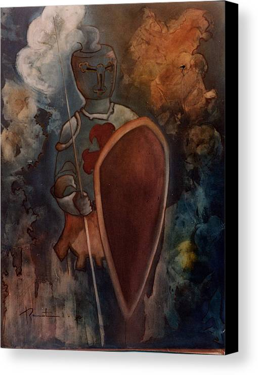 Armor Canvas Print featuring the painting L'homme D'arme by Bernard RENOT