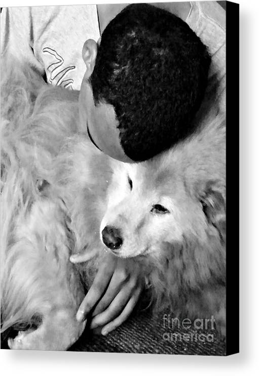 Luke And Little Bear Canvas Print featuring the photograph Luke And Little Bear by Sarah Loft