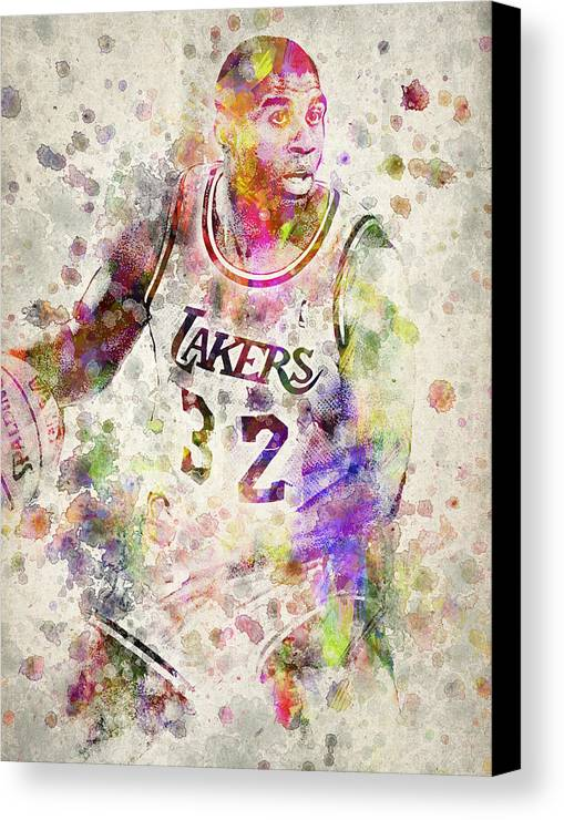 Magic Johnson Canvas Print featuring the digital art Magic Johnson by Aged Pixel