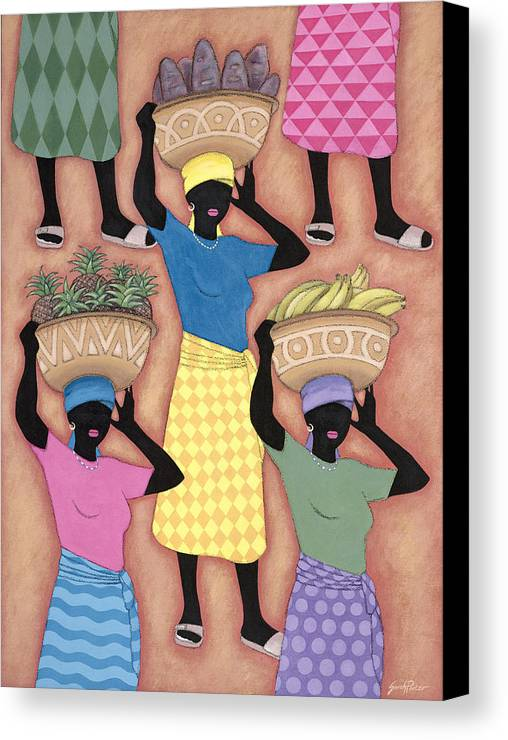 Female Canvas Print featuring the painting Market Day by Sarah Porter